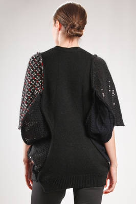 asymmetric cardigan in patchwork knit with different wool, mohair and nylon processing and parts with paillettes - JUNYA WATANABE