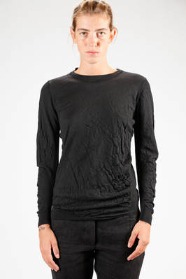 hip length sweater in virgin wool stockinette stitch with boiling effect on the sleeves and bodice - FORME D' EXPRESSION