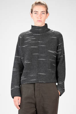 hip length sweater in wool and cashmere knit with horizontal outline  - 161