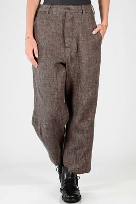 wide trousers in linen, silk and wool twill with tone on tone vertical line and mild thread like tweed  - 161