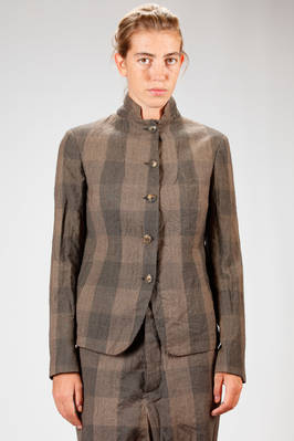 hip length jacket in glen check of virgin wool and washed and wrinkles ramié  - 161