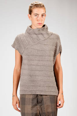 hip length sweater in laddered yak knitted  - 161