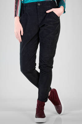 slim fit trousers in cotton, polyester and polyurethane windowed velvet  - 47