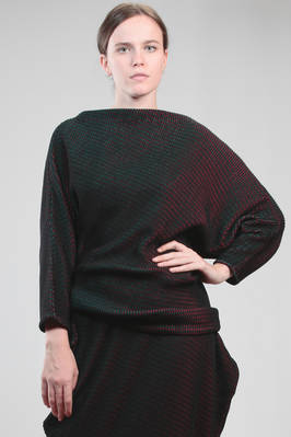 hip length sweater in wool, polyester and nylon plissé with a soft velvet knit effect  - 47