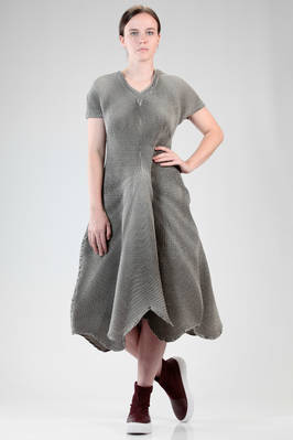 longuette dress in polyester, polyurethane and wool steam-stretch plissé  - 47