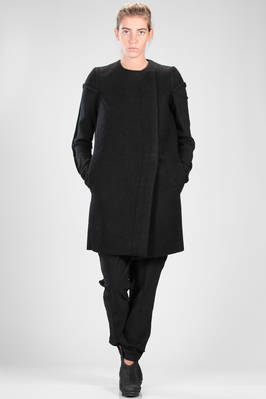 above the knee coat in felted woollen cloth on the bodice and the sleeves in woollen stockinette stitch  - 120