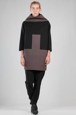 hip length tunic like an armour in viscose, wool and polyamide with bicolour geometric pattern  - 120