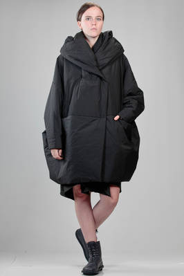 wide knee length padded coat in waterproof polyester taffetas  - 123