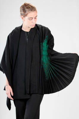 long, asymmetrical and wide 'sculpture' jacket in acrylic, nylon, polyester and woollen flannel that changes towards blue, green painted detail - YOHJI YAMAMOTO