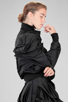 hip length 'sculpture' bomber in cotton canvas and nylon that changes towards green - YOHJI YAMAMOTO