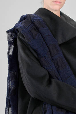 wide stole in nylon, silk and woollen gauze with tone on tone squares of devoré fabric - YOHJI YAMAMOTO