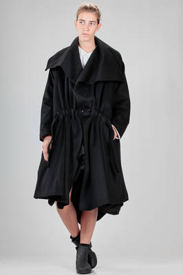 calf length oversized coat in hand soft woollen cloth  - 73