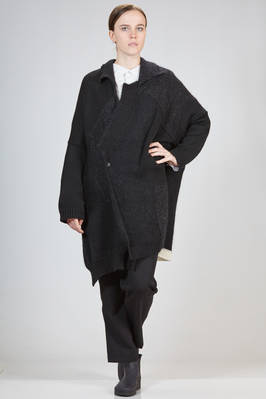 wide, asymmetric and long cardigan with square patchwork in wool, acrylic, mohair, silk and nylon stockinette stitch  - 73