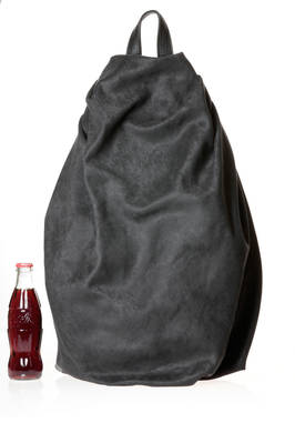 soft and wide back pack shaped as a water drop in polyester alcantara and parts in leather  - 73