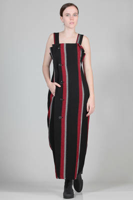 wide and long dungarees dress in woolen and viscose cloth with large vertical stripes  - 97