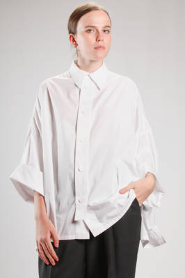 oversized hip length shirt in washed poplin cotton  - 97