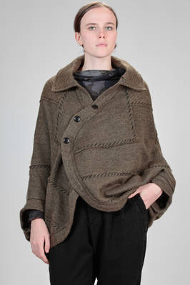 wide and asymmetrical hip length cardigan in polyester, acrylic and wool mohair knit  - 97