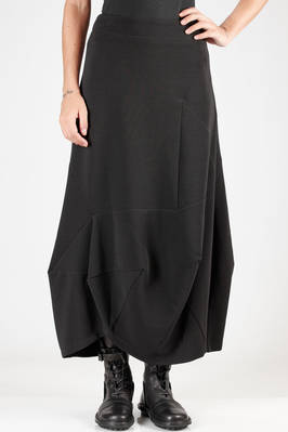 longuette skirt in jersey with horizontal polyamide and elastane lines, polyamide lined  - 292