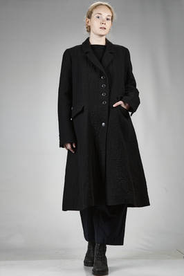 long coat in pounded wool, linen and cotton cloth, polyester and lycra lined  - 292