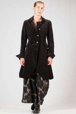 calf length coat in smooth cotton and linen velvet, lycra and polyester lined  - 292