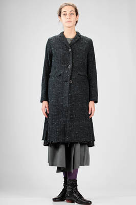 calf length coat in cotton and woolen knitwear tweed with vertical and horizontal ribs  - 336