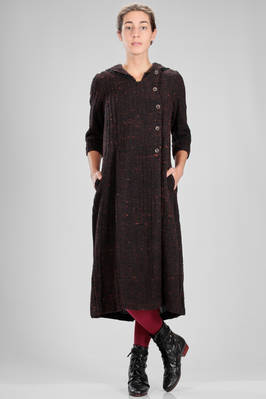 longuette dress in cotton tweed and wool knitwear with horizontal and vertical ribs  - 336
