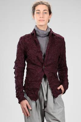 jacket  in creased cloth of melange washed wool matched on a cotton base  - 336