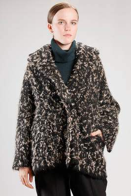 wide hip length pea coat in bicolor mohair, polyamide and elastan knitting  - 227