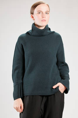 hip length sweater in very soft ribbed cashmere knitting  - 227