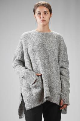 wide sweater in alpaca bouclé knit, merinos wool and polyamide melange  - 334