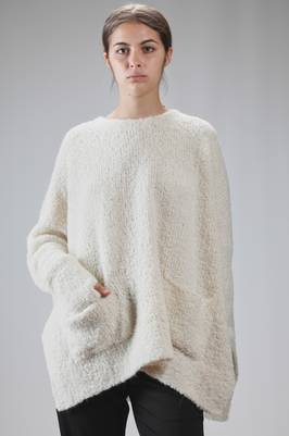 wide sweater in alpaca bouclé knit, merinos wool and polyamide  - 334