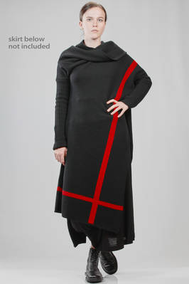asymmetric dress in woollen stockinette stitch with contrasting colors graphical lines  - 340