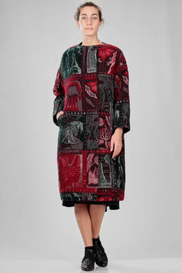 calf length coat in woolen, cotton and nylon cloth, multicolor tapestry processed  - 343
