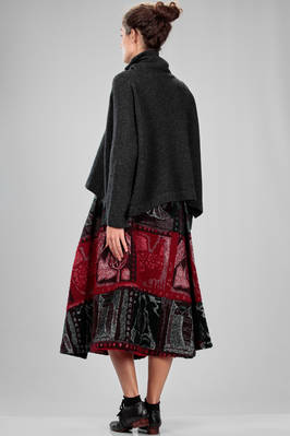 wide longuette skirt in woolen, cotton and nylon cloth, multicolor tapestry processed - NATIVE VILLAGE