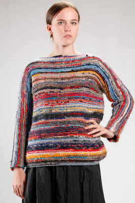 hip length wide sweater in multicolor garter stitch heavy woolen knitting  - 195