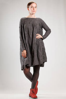 wide knee length dress in hand made irregular knitting of felted merinos wool on silk  - 344