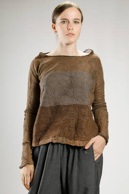 wide hip-length sweater in hand made irregular knitting of merinos wool on silk  - 344