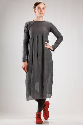 longuette dress in hand made irregular knitting of felted cashmere on silk chiffon base  - 344