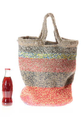 shopper bag in linen and cotton with horizontal multicolor melange lines  - 195
