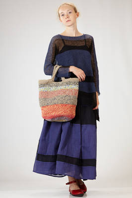 shopper bag in linen and cotton with horizontal multicolor melange lines - DANIELA GREGIS