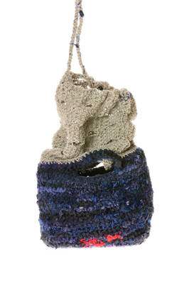 bag with one part in multicolor linen and silk crochet with a tight weave and the other part with a more loose weave in natural linen cord  - 195