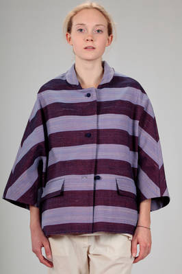 hip length jacket in 'hand beaten' linen canvas with bicolour horizontal stripes with shantung effect  - 195
