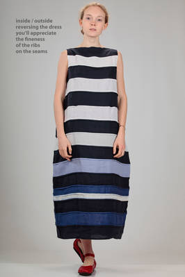 wide and long dress in linen canvas with sewed together horizontal straps in degradé shades of blue and white  - 195