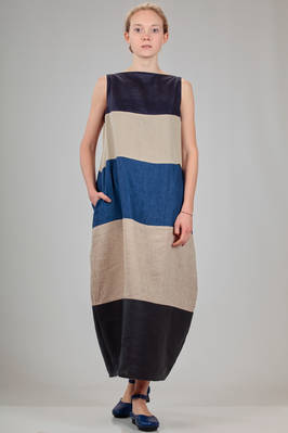 long dress in linen canvas with horizontal block of different colours and processing  - 195