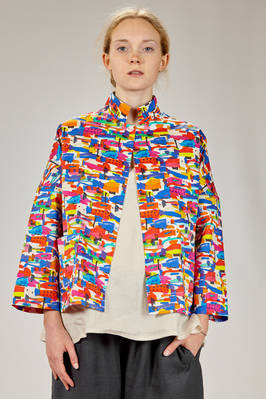 hip length jacket in very light cotton canvas with little fish print  - 195