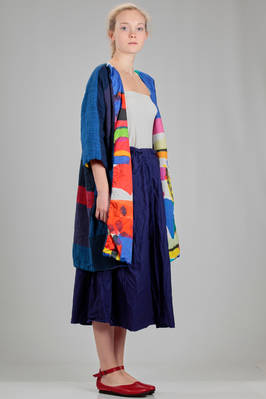 wide knee length pea coat in frame worked linen and in multicolour cotton canvas - DANIELA GREGIS