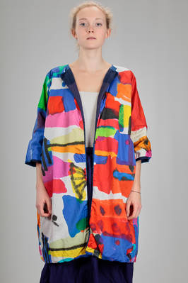 wide knee length pea coat in frame worked linen and in multicolour cotton canvas  - 195