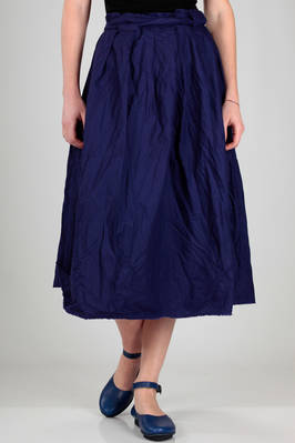 wide pleated longuette skirt in washed and wrinkled cotton canvas  - 195