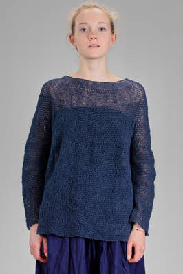 long and wide sweater in garter stitch knitted linen  - 195