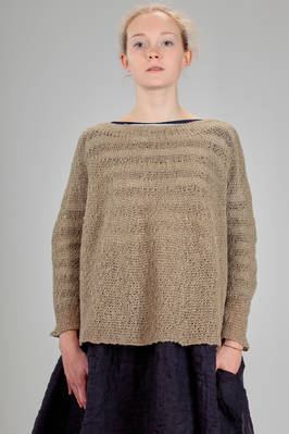 long and wide sweater in garter stitch linen knit  - 195